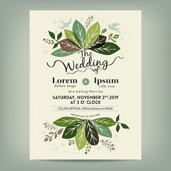Invitación de boda con rama de hojas verdes florales