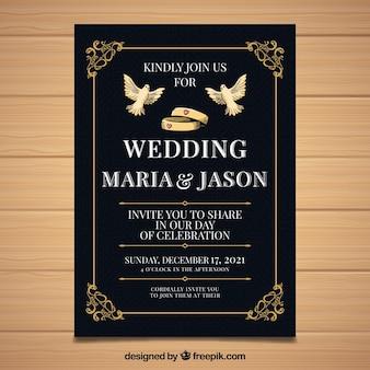 Invitación de boda dibujada a mano con estilo elegante