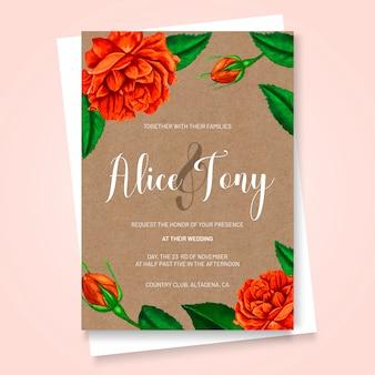Invitación de boda en estilo de acuarela