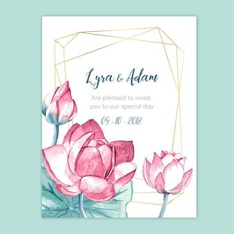 Invitación de boda floral acuarela con geometría