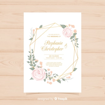 Invitación de boda floral con líneas doradas