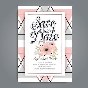 Invitación de boda geométrica abstracta con diseño de lujo