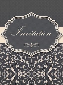 Invitación de boda y tarjeta de anuncio con ilustraciones de fondo vintage