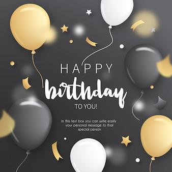 Invitación de cumpleaños con globos de oro