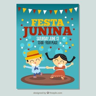 Invitación de festa junina con pareja bailando
