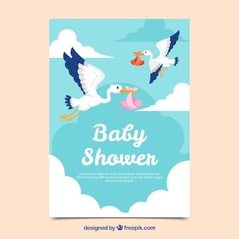 Invitación de fiesta de bebé en estilo plano