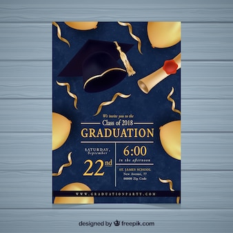 Invitación de fiesta de graduación con elementos dorados