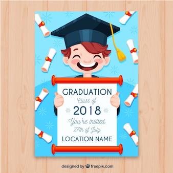 Invitación de fiesta de graduación con niño feliz