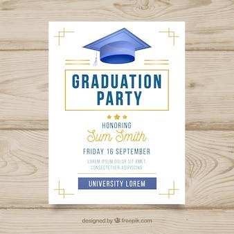 Invitación de fiesta de graduación elegante blanco