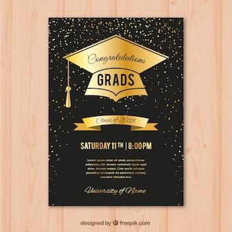 Invitación de fiesta de graduación en estilo de lujo
