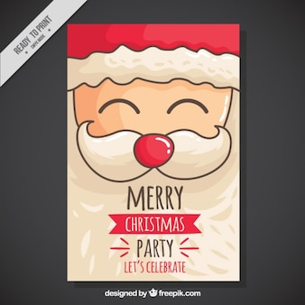 Invitación de fiesta de navidad con alegre papa noel dibujado a mano
