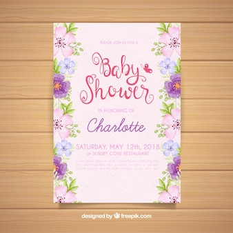 Invitación de fiesta del bebé con flores en estilo acuarela