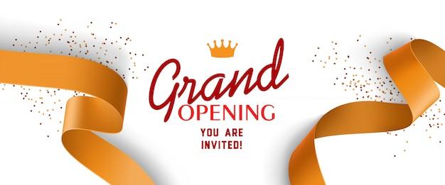 Invitación de gran inauguración con cintas de oro, corona