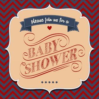 Invitación de la ducha de bebé en estilo retro