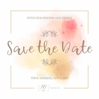 Invitación de la fecha de ahorro de oro y rosa