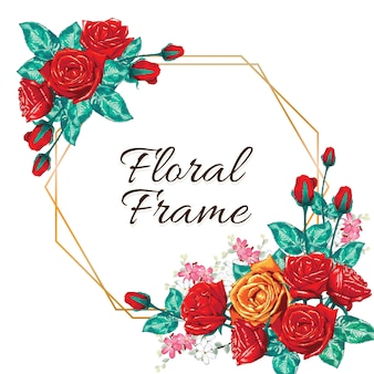 Invitación de marco de flores de rosas rojas.