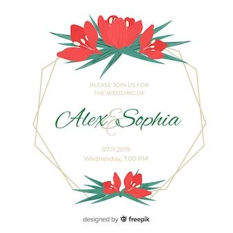 Invitación de deshierbe de marco de tulipanes rojos