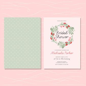 Invitación de despedida de soltera con corona floral y patrón de puntos
