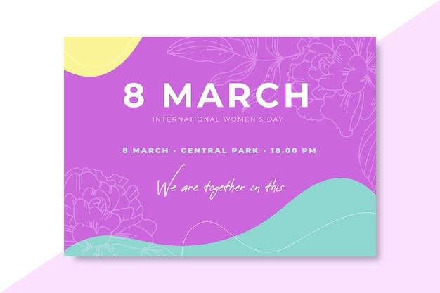 Invitación del día de la mujer colorida doodle