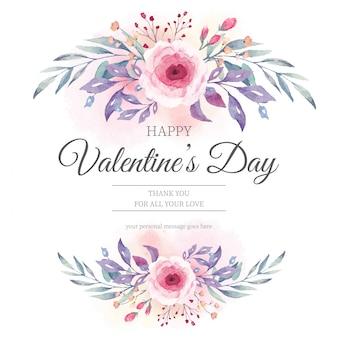 Invitación del día de san valentín con flores de acuarela