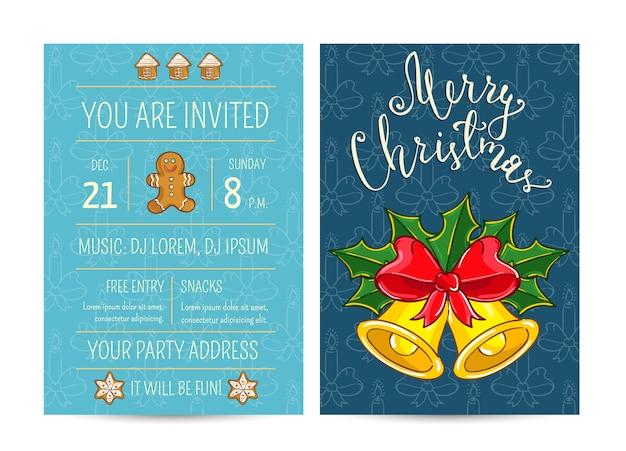 Invitación de dibujos animados brillantes en fiesta de navidad divertida