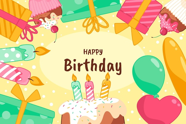 Invitación de diseño de feliz cumpleaños