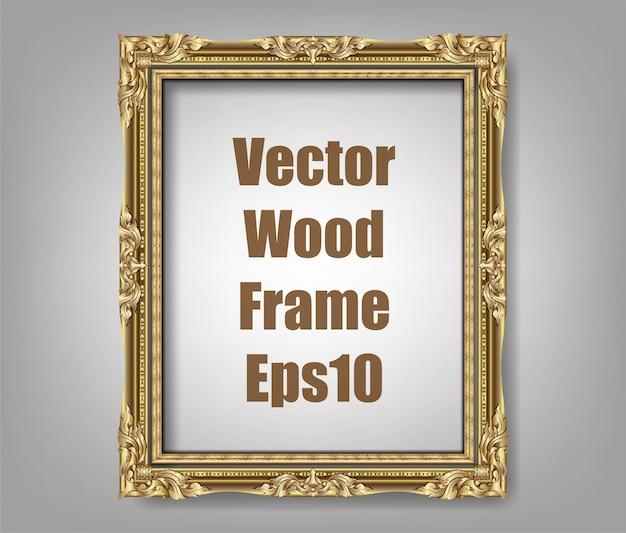 Invitación del diseño del vector golden photo frame
