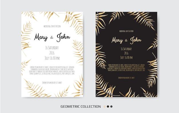 Invitación dorada con elementos florales.