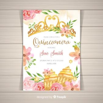 Invitación dorada a fiesta de quinceañera con flores