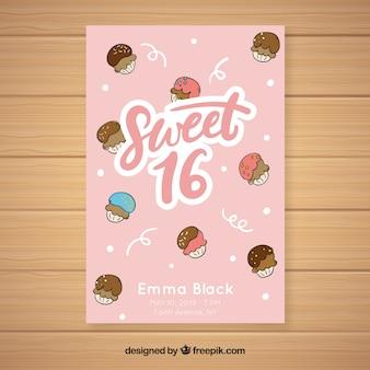 Invitación dulces dieciséis cumpleaños