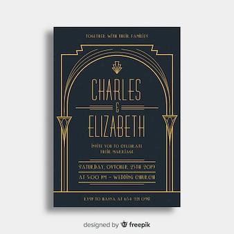 Invitación elegante de la boda del art déco