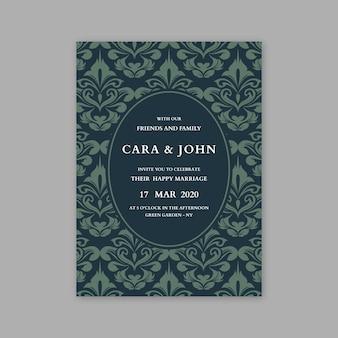 Invitación elegante de la boda del damasco de la plantilla