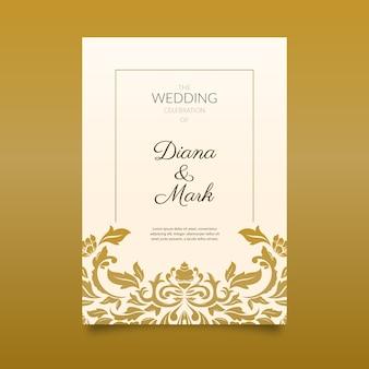 Invitación elegante de la boda del damasco