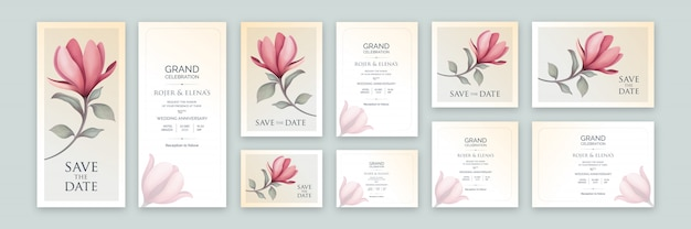 Invitación elegante de color claro de arte floral con tamaños variables