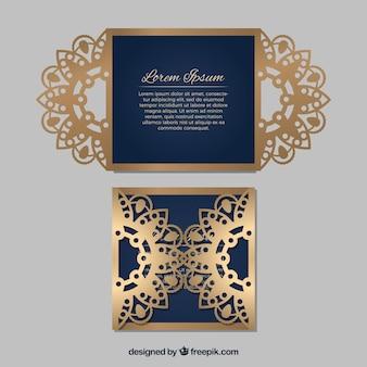Invitación elegante dorada de corte láser