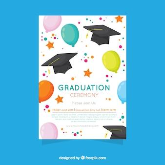 Invitación elegante de fiesta de graduación con diseño plano