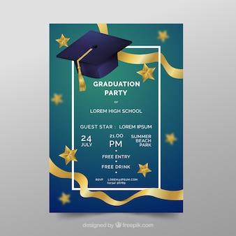 Invitación elegante de fiesta de graduación con diseño realista