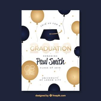 Invitación elegante de fiesta de graduación con estilo dorado