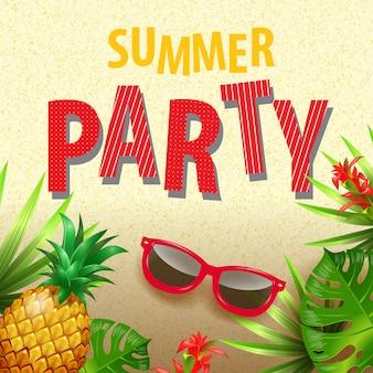 Invitación elegante fiesta de verano con hojas tropicales, flores, gafas de sol y piña.