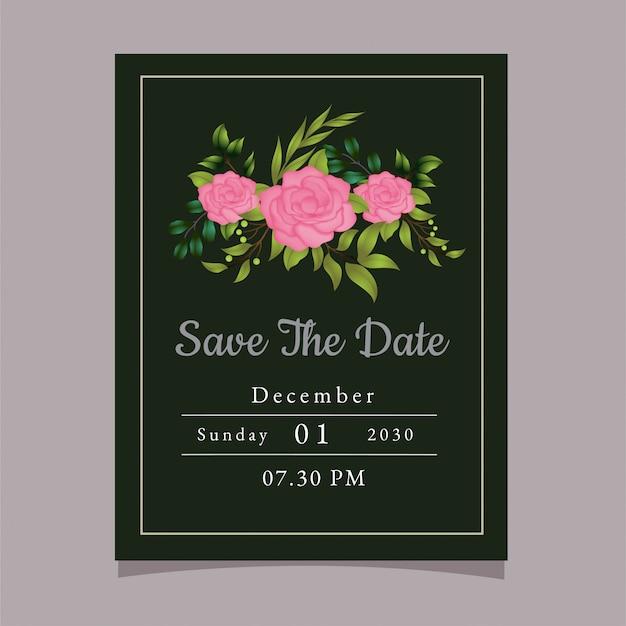 Invitación elegante y simple de diseño de portada rosa