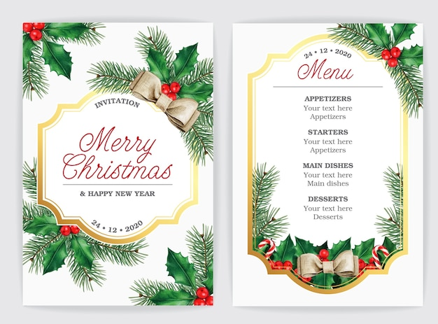 Invitación elegante tarjeta de menú navideño con ramas de acebo y pino