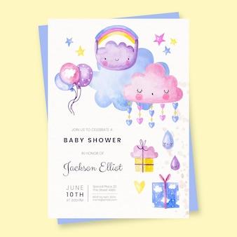 Invitación de la familia mary baby shower dibujada a mano