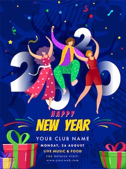 Invitación de feliz año nuevo, diseño de flyer con cajas de regalo y gente bailando sobre fondo abstracto azul.