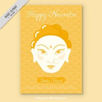 Invitación de feliz navratri en color amarillo