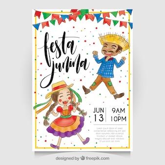 Invitación de festa junina de acuarela con simpáticos personajes