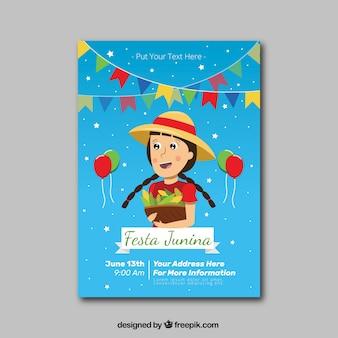 Invitación de festa junina de niña con maíz