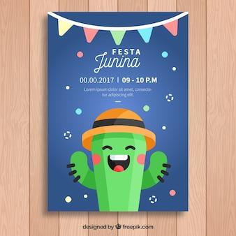Invitación de festa junina con simpático cactus