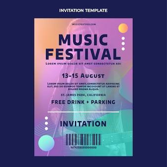 Invitación del festival de música colorido degradado