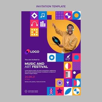 Invitación festival de música mosaico plano