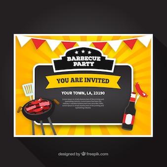 Invitación de fiesta de barbacoa en estilo hecho a mano